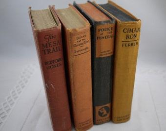 Vintage Bookshelf Accent Books in Orange, Red and Black  Antique Book Bundle, Vintage Books , Old Books