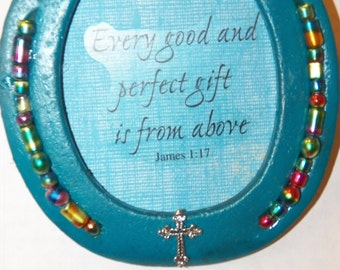 Horseshoe Decor Teal with multicolored beads Bible verse