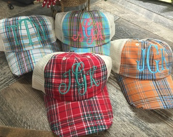 Monogram plaid mesh hats.