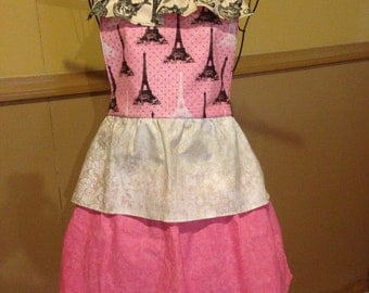Pink and black ruffle apron