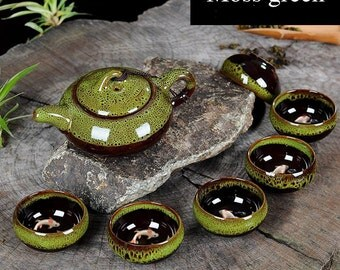 Teaset - 1 tea pot and 6 cups - ceramic handmade