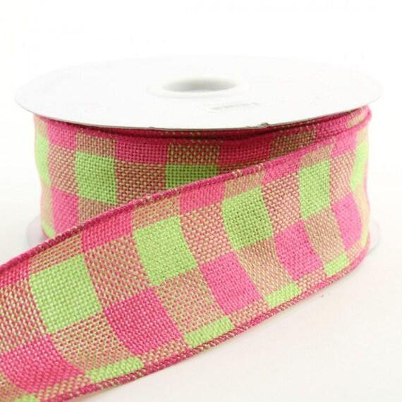 2 5 inch inchwired burlap ribbon pink green burlap ribbon for Green burlap ribbon