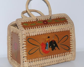 Vintage spanish wooden basket with flamenco dancer and torero drawing