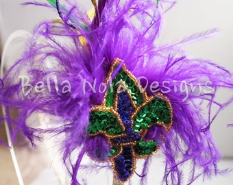Mardi Gras inspired sequin and feather headband