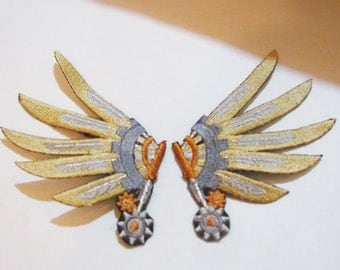 Embroidered Captain's Steampunk Wing Hair Clips - Gold