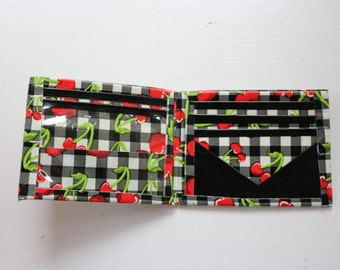 Cherry-Black Duct Tape Bifold Wallet
