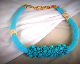 Necklace Turquoise with Sewn Glass Beads