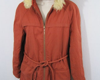 Vintage 1960s White Stag Ski Jacket with Faux Fur Hood - Womens 10ish #E125