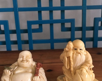 Two Asian oriental sweet figurines One Signed.