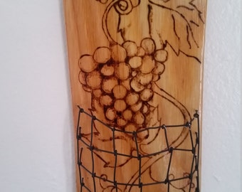 Handmade hanging wine cork basket