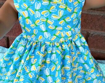 Yellow DRAGONFLIES  on Turquoise Dress