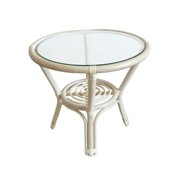 Rattan Coffee Table Etsy: Rattan Round Coffee End Table Model Diana By
