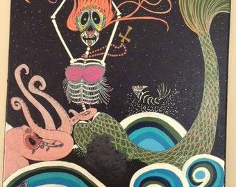 "Day of the dead mermaid. ""La Sirena Rising"". Original art."