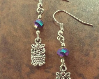 Baby Owl Earrings - Purple Bead Accent