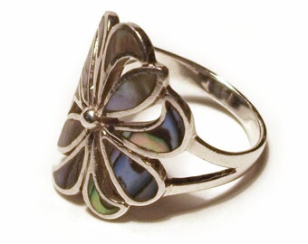 Sterling Silver Ring Paua Shell Flower 925 Vintage Abalone Blue Green Boho size M 6