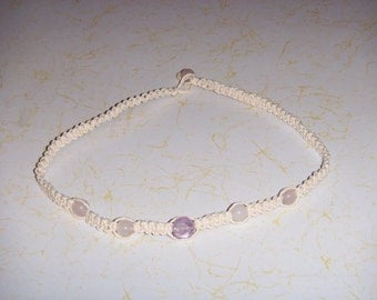 White Hemp Necklace w/ Amethyst and Rose Quartz
