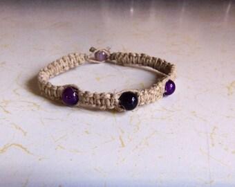 Natural Hemp Bracelet w/ Purple Agate