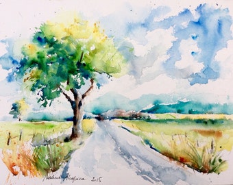 """Watercolour original """"on the road in the summer"""""""