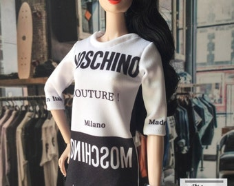 Mini Dress Insprie by Moschino,for Barbie Fashion Royalty FR2 and another 1/6 scale doll.