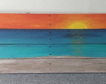 Sunset Pallet Painting (32x14)
