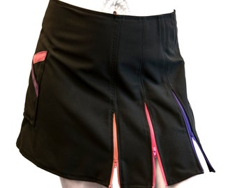 Multiple zipper mini skirt