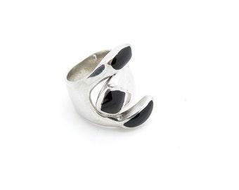 Alpaca Silver Black Onyx ring - Fair Trade, Handmade, Ethical Jewellery