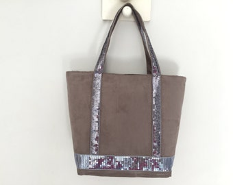 Beige tote bag taupe with silver sequins in suede