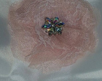 Champagne Pink Lace Flower Hair Piece