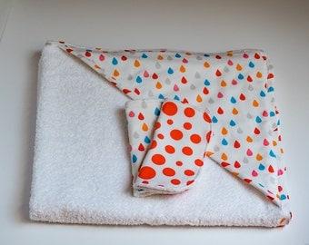 Rainbow Raindrops Hooded Towel with washcloth set