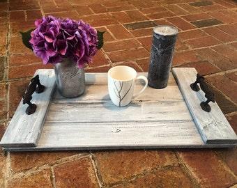 Rustic Serving Tray//Wood Serving Tray//Farmhouse Decor//Coffee Table Tray//Ottoman Serving Tray//Fixer Upper Decor//Rustic Decor