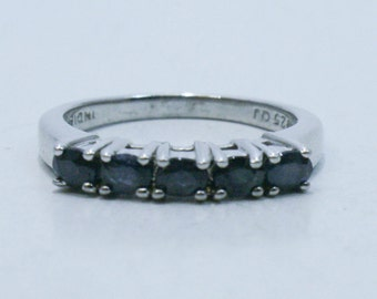 Oval sapphires set in sterling silver ring size 9.5