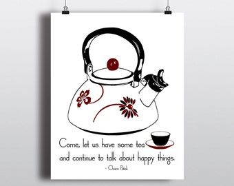 Tea Time Quote Print, Printable Kitchen Art, Chaim Potok Quote, Instant Digital Download, Retro Tea Kettle Illustration, DIY Home Decor