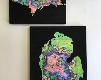 Purple and Lime Michigan map art, Mitten artwork, Map Artwork, Michigan Art, Michigan Wall Decor,