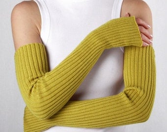 Long arm warmers Fingerless Gloves Сolor of mustard Gauntlets Womens Gloves Wrist Warmers Extra-long arm warmers Yellow mittens