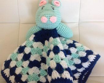 Crochet hippo lovey, hippo blanket, hippo security blankey, baby shower gift