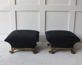 refurbished early victorian poufs