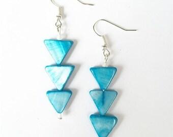 Aqua Shell Earrings