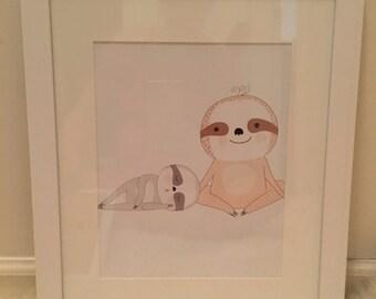 Sloth framed art