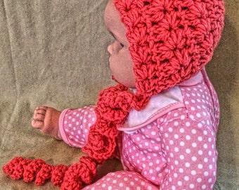 Baby Bonnet, Crochet Baby Bonnet, Newborn Bonnet, Baby Girl Bonnet, Crochet Newborn Bonnet, Crochet Bonnet, Newborn Crochet Hat, FuschiaPink