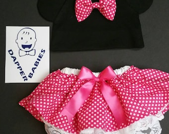 Minnie Mouse inspired diaper cover and hat