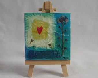 Forget Me Not Miniature Mixed Media Painting (Complete With Easel) - Flower