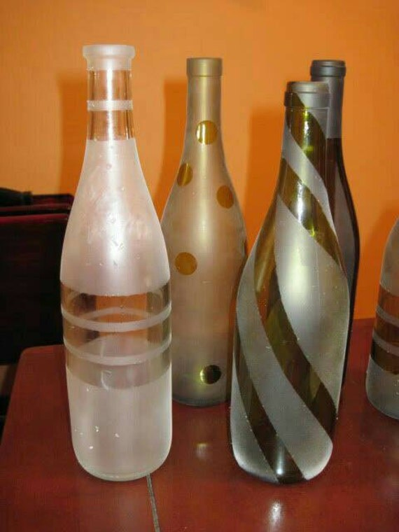 Frosted glass bottles and jars