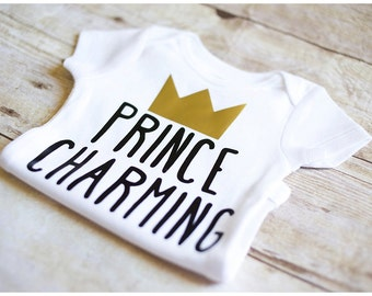 Boys Prince Charming bodysuit one piece shirt black and gold crown baby shower gift photo shoot outfit