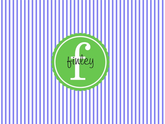 Item #10137 Preppy Periwinkle Pinstripe with Kelly Green. Personalized stationery with style.