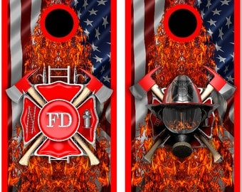 Firefighter American Flames Cornhole Wrap Bag Toss Decal Baggo Skin Sticker Wraps