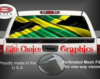 Jamaican Flag Rear Window Graphic Tint Decal Sticker Truck SUV Van Car