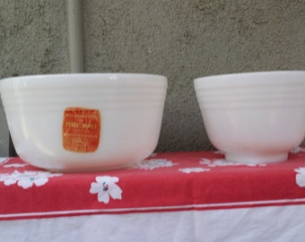 "Two Vintage ""Old"" Pyrex Milk Glass Mixing Bowls"