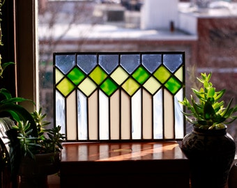 Stained Glass Window Panel - Green and White