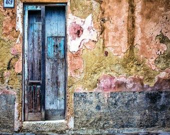 Old Doors, Modica Sicily, Travel Photo, Old Textured Blue Doors, Rustic Building, Sicily Travel, Sicily Wall Art, Vivid Colors, Art Print