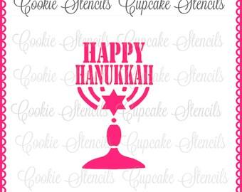 Stencil for cookie decorating Happy Hanukkah menorah  , 5.5'' X 5.5'' cookie stencil !  NB1219 jewish celebration